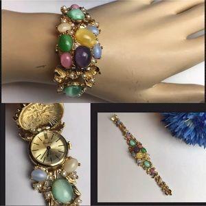 RARE VTG Crawford Jeweled Stone Watch/Bracelet